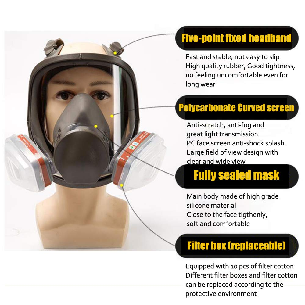 Yunge Full Face Respirator Gas Mask For 6800 Painting Spraying(15 in 1)Facepiece Respirator- Industrial Grade Quality by YungeEquipmentUS (Image #4)