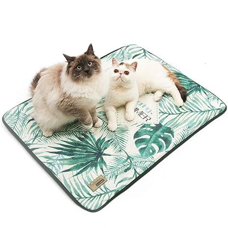 Hianiquaime Alfombrilla Refrescante Lavable para Mascota Fresco Cojín Fría Cama Cómoda Dormir para Perros Gatos Perrito Gatito Verde SML 50x38cm ...