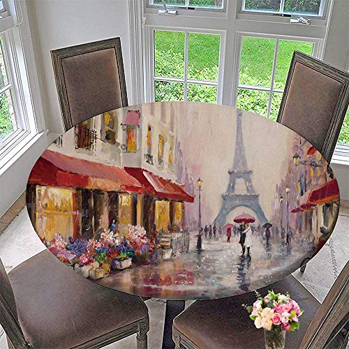 PINAFORE HOME Round Tablecloths Original Oil Paint on Canvas Paris Eiffel Tower a Pair of Lovers Under an Umbrella or Everyday Dinner, Parties 43.5