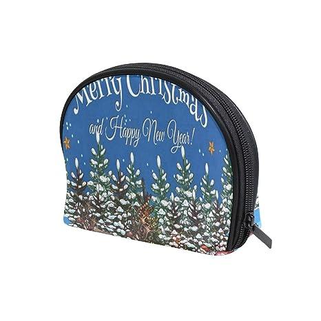 90258eec2f6a Amazon.com : Cosmetic Bag Christmas Tree Santa Claus Reindeer Girls ...