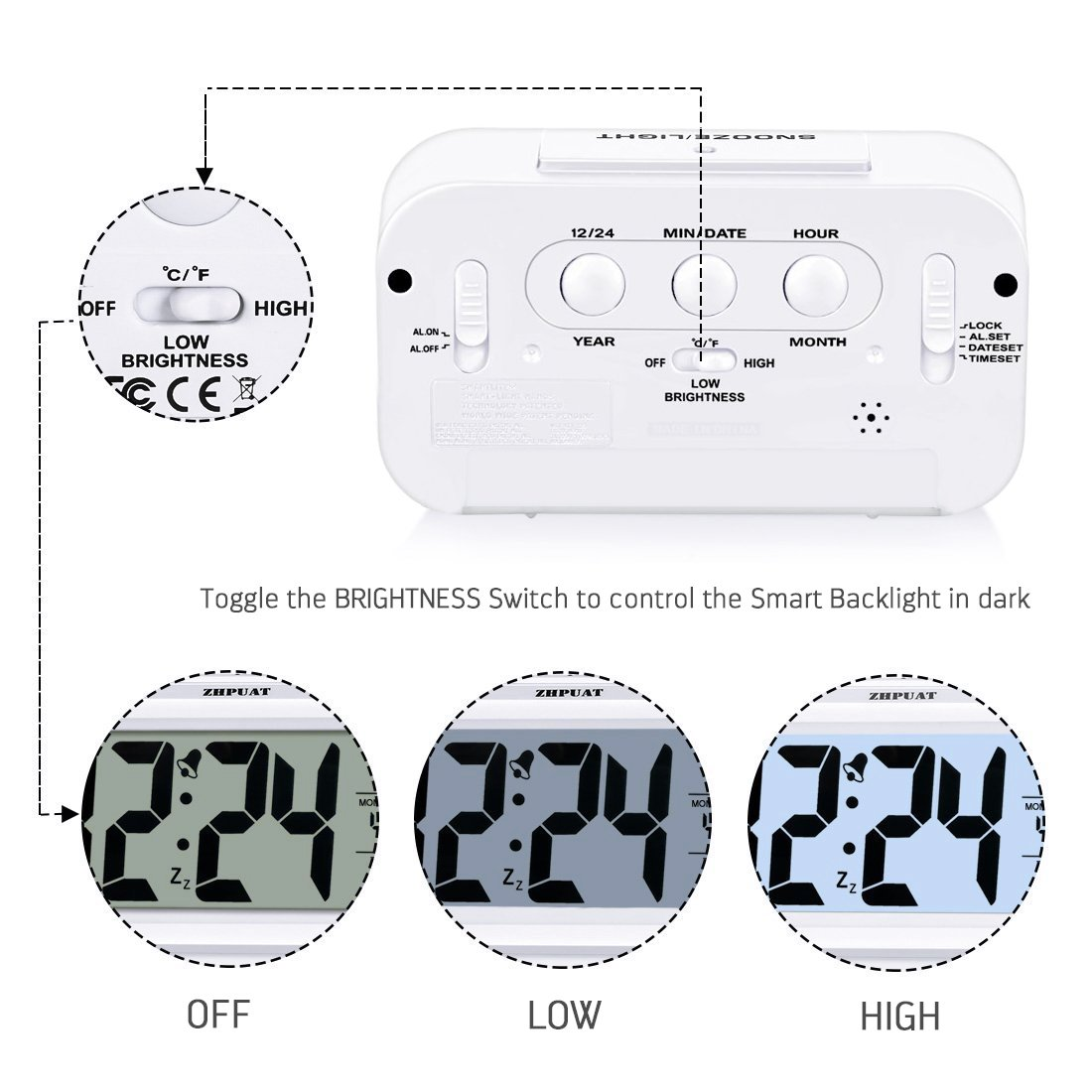 Zhpuat 46 Display Digital Alarm Clock With Smart 12 Way Marine Non Illuminated Switch Circuit Breaker Panel Amazonco Electronics
