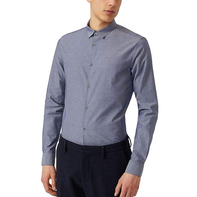 Emporio Armani Camisa de Mangas largas Hombre Nuevo Slim fit BLU EU L (UK L