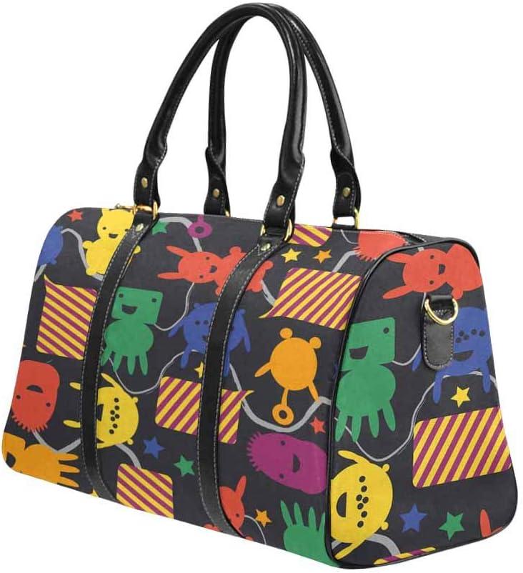 InterestPrint Carry-on Garment Bag Travel Bag Duffel Bag Weekend Bag Rabbits Stars Stripes Vivid