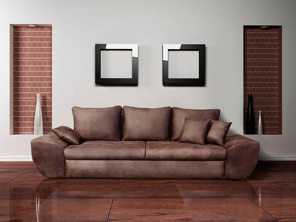 Megasofa braun  Big Sofa mit Schlaffunktion und Bettkasten im Vintage Look braun ...