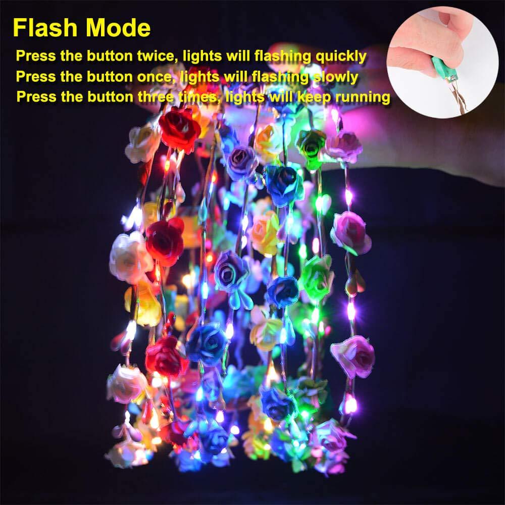 AniSqui 9Pcs LED Fascia Fiori, Include 10 Fiori di Carta e 10 luci a LED Capelli Ghirlande per Feste e Compleanni e Ragazze//Copricapo da Sposa per Bambini 20 Ore di Lavoro Ghirlanda Fiori