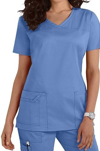Smart Uniform Ladies/Women's Healthcare Nurses Doctors Therapist V-Neck Scrub Tops [14 Colors]