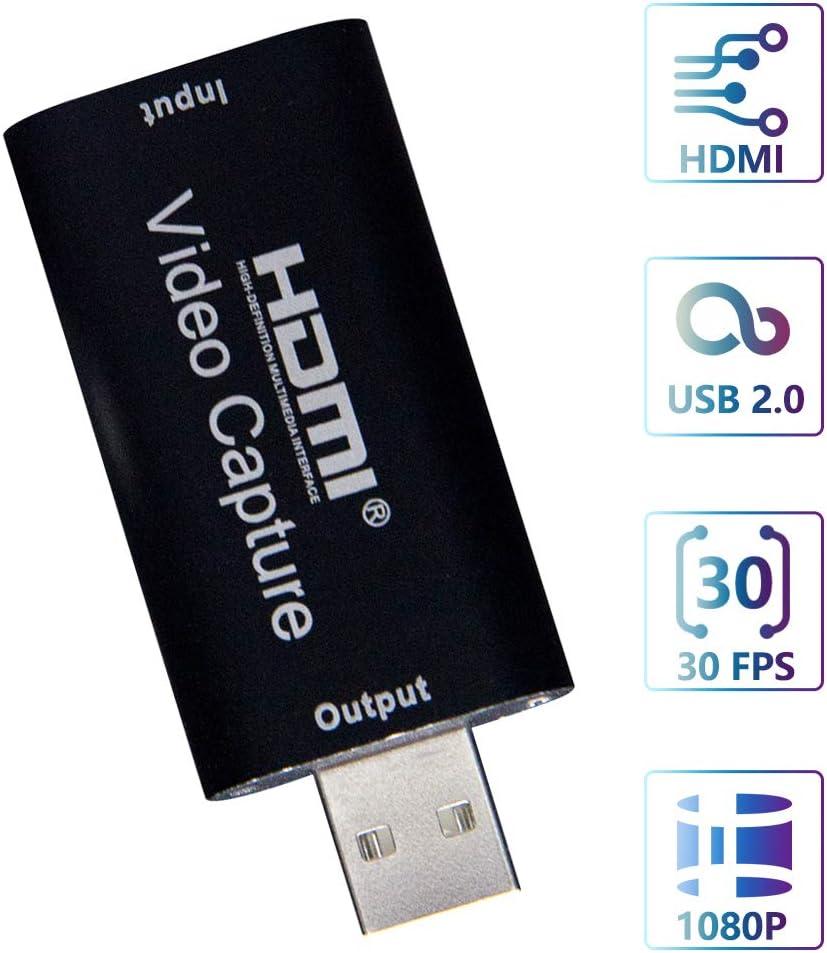 Carte de Capture Audio Vid/éo Vid/éoconf/érence ou Diffusion en Direct Noir Enseignement HDMI vers USB 2.0 HD 1080p 30fps Cam/éra Enregistreur pour Windows Android Mac Switch PS4 xBox Streaming