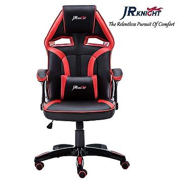 JR Knight - Silla estilo deportivo, oficina en casa, gaming, silla giratoria exclusiva de piel, color Black&red