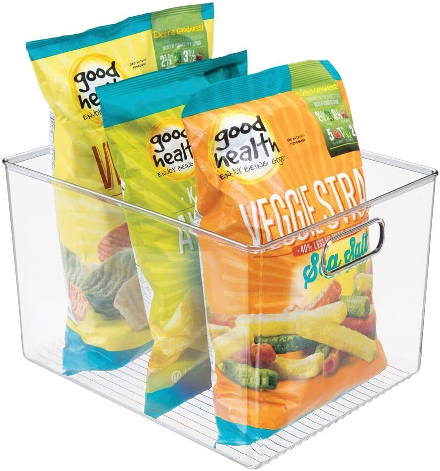 mDesign Plastic Storage Box – Deep Open-Top Refrigerator Storage Tray with Handle – Can Be Used as Fridge Tray, Shelf Box or for Cupboard Storage – 30.5 cm x 25.4 cm x 20.3 cm – Clear