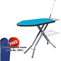 ATHENACREATIONS Folding Ironing Board with Multi-Function Tray/Wire Manager & Smooth Ironing Surface (92 x 39 x 57-84 cm)(Turquoise Blue) with 1 Ironing Table Cover Free