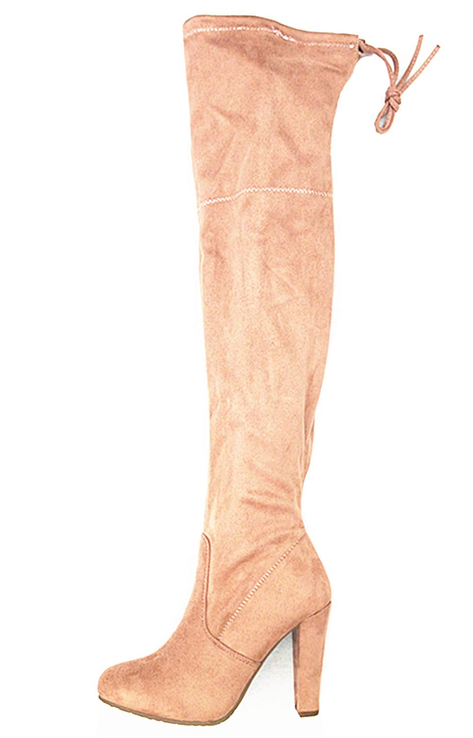 Dusty Pink-h1 S&F SF Women's Over The Knee Boots Chunky Heels String Riding Women's shoes