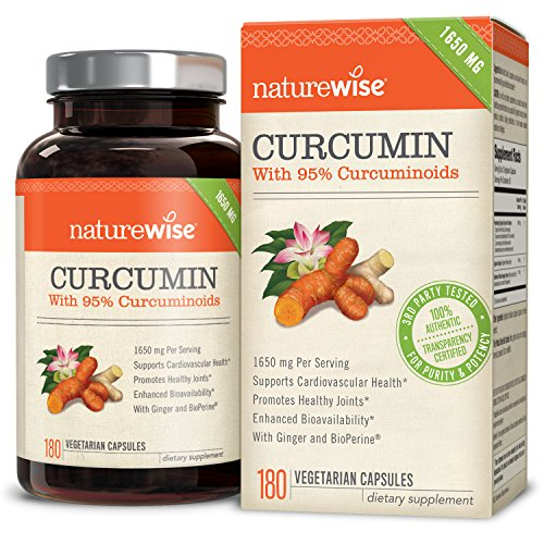 NatureWise Curcumin Turmeric with 95% Curcuminoids, 1650mg Max Serving Per Day From Three 750mg Capsules, High Absorption BioPerine Black Pepper for Inflammation & Joint Support, 180 Caps