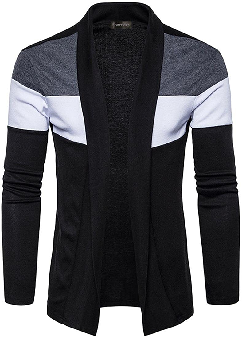 Sportides Mens Casual Shawl Collar Open Front Slim Fit Knitted Cardigan Sweater JZA299