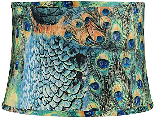 Peacock Drum Lamp Shade Cotton Fabric with Harp 14x16x11 (Spider) - Springcrest ()