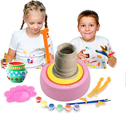Educational Toy for Kids Beginners IAMGlobal Pottery Wheel DIY Pottery Studio Blue Sunflower Art Craft Kit Craft Activity Artist Studio Ceramic Machine with Air-Dry Clay
