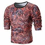 Men's Blouse ,Clearance Sale -Farjing Fashion Men's Personality Slim Fit Casual Long Sleeve Printed Shirt Top Blouse(3XL,Red)