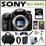 Sony Alpha SLT-A65V 24.3MP Digital SLR Camera BODY + Sony 16GB SDHC + Mini HDMI Cable + Replacement NP-FM500H Battery + Card Reader + Accessory Kit