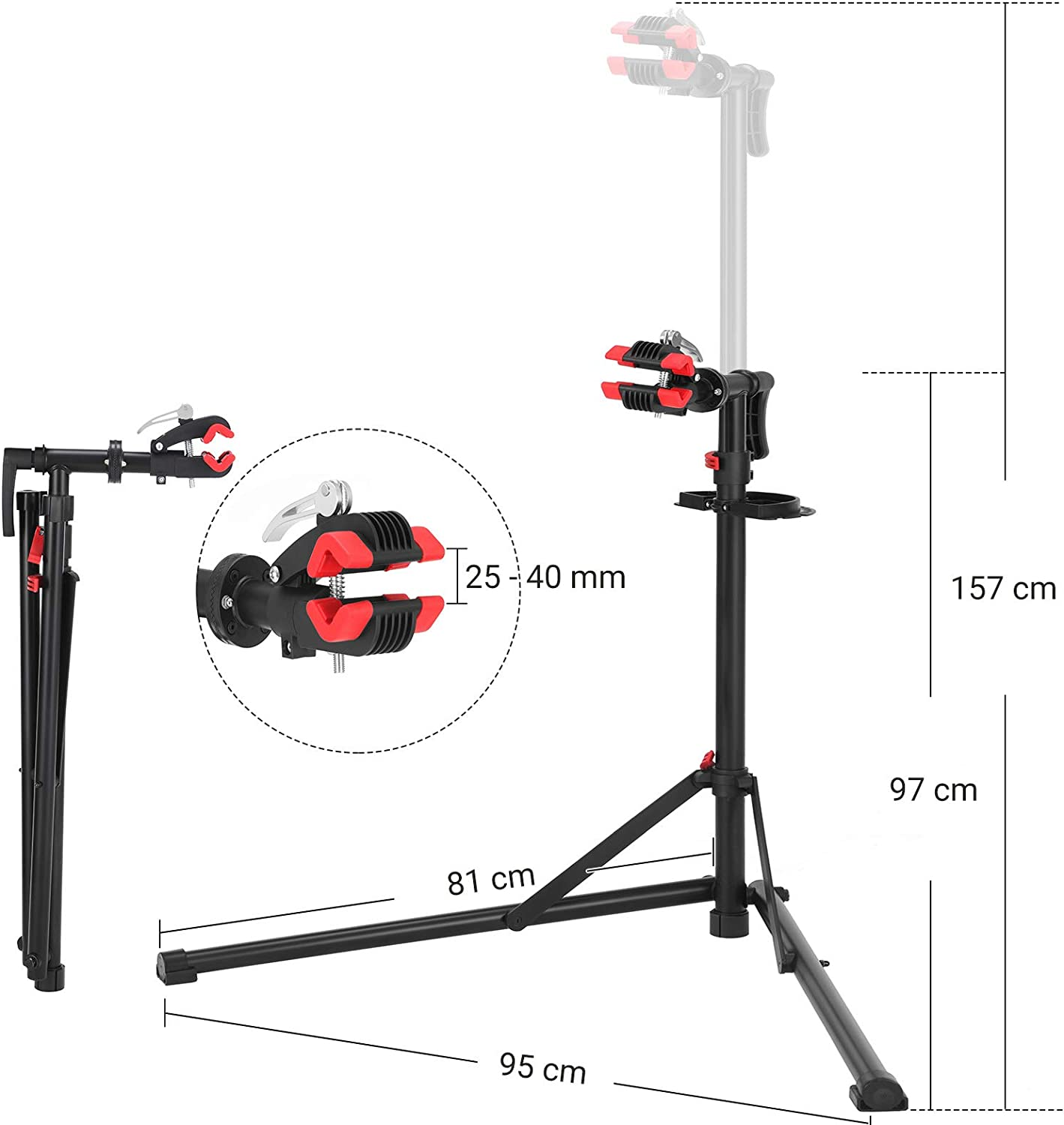 Welded Steel Head with 360 Degree Adjustment Clamp Quick Release Handles SONGMICS Bike Repair Stand Rack Black SBR07B Heavy-Duty and Sturdy Maintenance Stand with 2 Legs