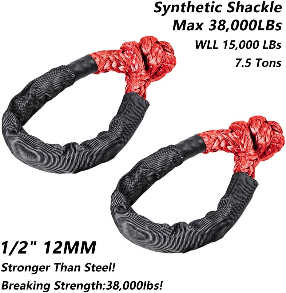 41,000lbs Breaking Strength Set of Two 1//2 Inch X 22 Inch Keeboot Black Synthetic Soft Shackle Rope Soft Shackle Synthetic with Protective Sleeve for Boating ATV Truck Recovery Black, 2 Pack