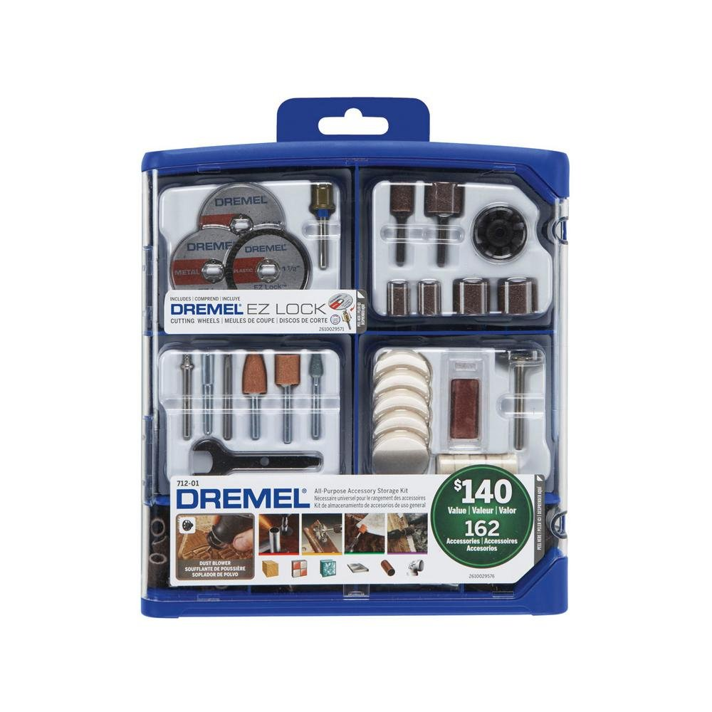Dremel 162-Piece RotaryTool Accessory Kit for Cutting, Sanding, Polishing, Grinding and Cleaning Bosch Tools 712-01