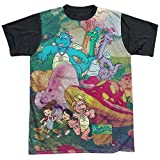 Other Cartoons Dragon Tales Animated Series Playin in Mushroom Meadow Adult Black Back T-Shirt
