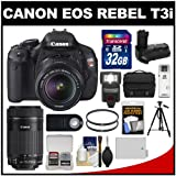 Canon EOS Rebel T3i Digital SLR Camera and 18-55mm IS II and 55-250mm IS STM Lens with 32GB Card + Case + LED Flash + Grip + Battery + Tripod Kit, Best Gadgets