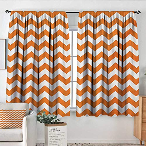 Mozenou Chevron Room Darkening Curtains Halloween Pumpkin Color Chevron Traditional Holidays Autumn Season Celebrate Drapes for Living Room 63