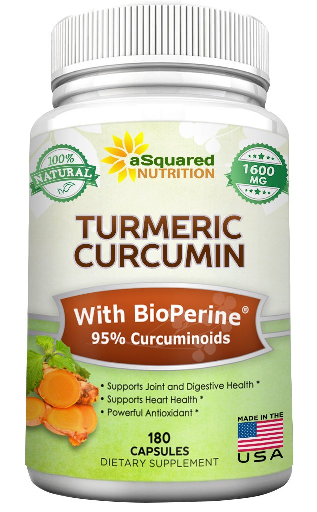 Turmeric Curcumin 1600mg with BioPerine Black Pepper Extract - 180 Capsules - with 95% Curcuminoids, 100% Natural Tumeric Root Powder Supplements, Natural Anti-Inflammatory Joint Pain Relief Pills