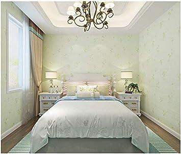Fslucky 3d Small Flowers Non Woven Wallpaper Living Room Bedroom Wallpaper Cream Light Green Amazon De Diy Tools