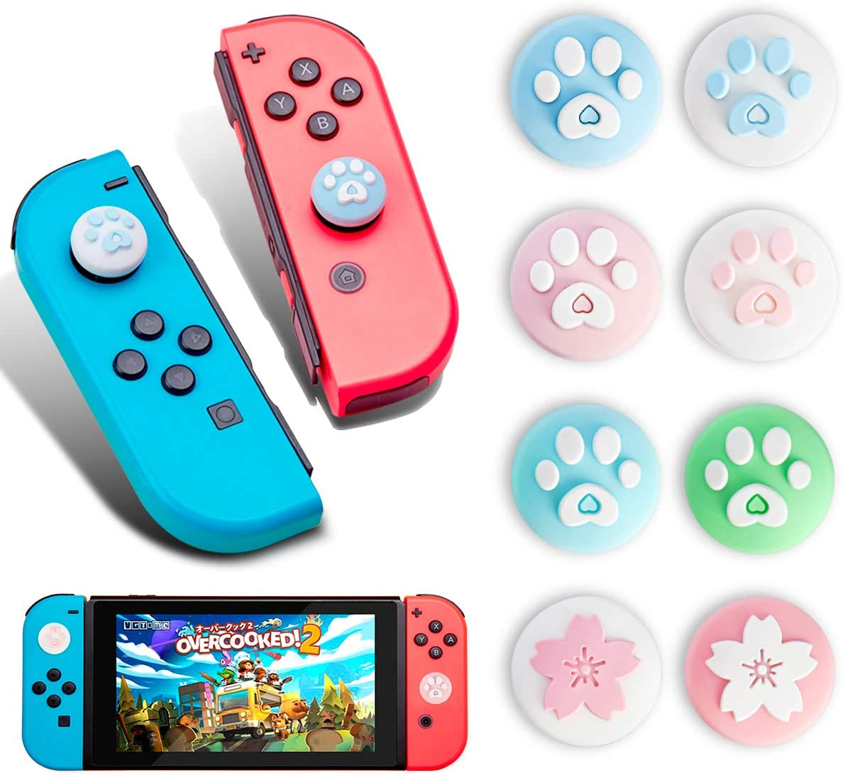 Pack of 10 Thumb Grip Caps /& Button Caps For SwitchSwitch Lite Joystick Cap Joy-Con Silicone Cover