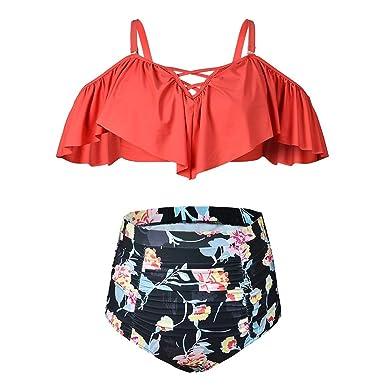 Amazon.com: kxing volantes Plus tamaño bañadores trajes de ...