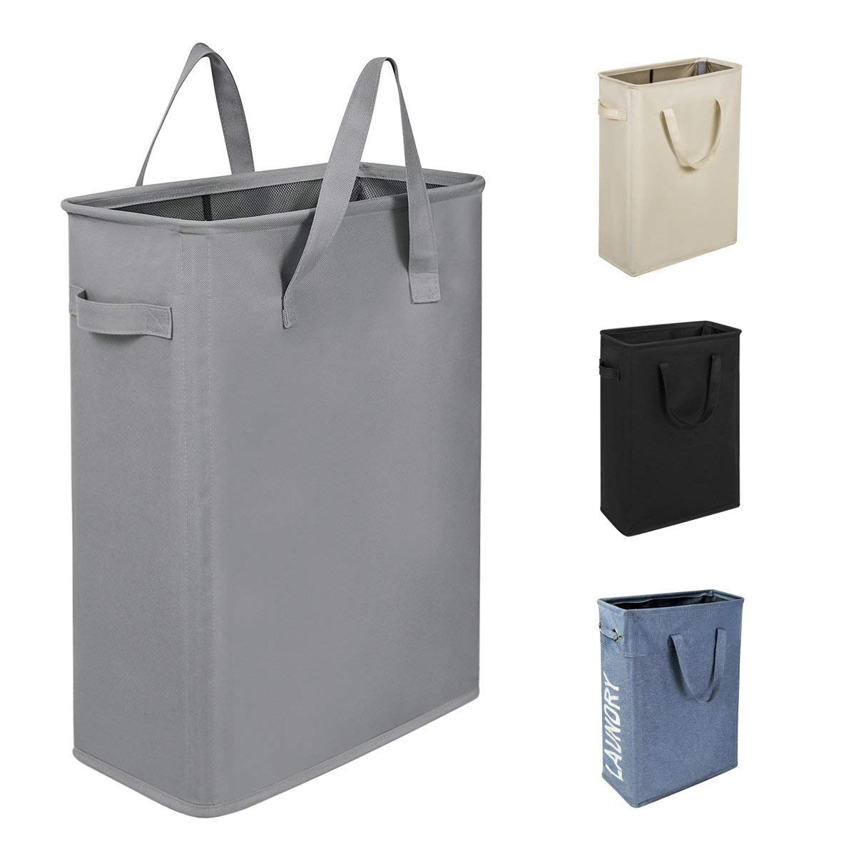 "WISHPOOL 21"" Slim Laundry Hamper Small Laundry Basket Narrow Thin Laundry Hamper Dirty Clothes Hamper with Handles Collapsible Hampers for Laundry(Slim 21"", Grey)"