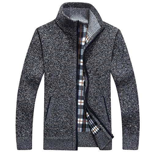 Yakke Hoodies Men's Fleece Sweater Warm Dress Slim Fat Wool Zipper Coat,Medium,Darkgray