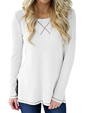 99bb4213186 Minthunter Women's Long Sleeve Blouse Crew Neck Knit Thermal Top Cute Tunic