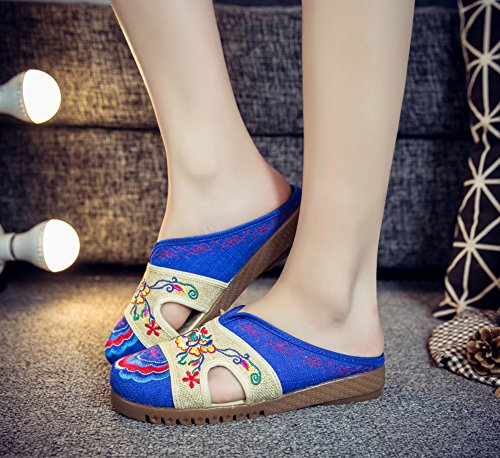 Blue Embroidery AvaCostume AvaCostume Womens Linen Color Flats Womens Slippers Contrast Embroidery rqqIgvwF