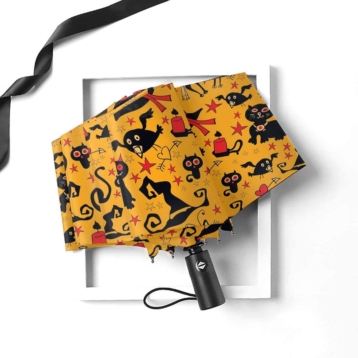 Travel Umbrella Girls Folding Umbrellas With Halloween Witch Hats And Cat Printed