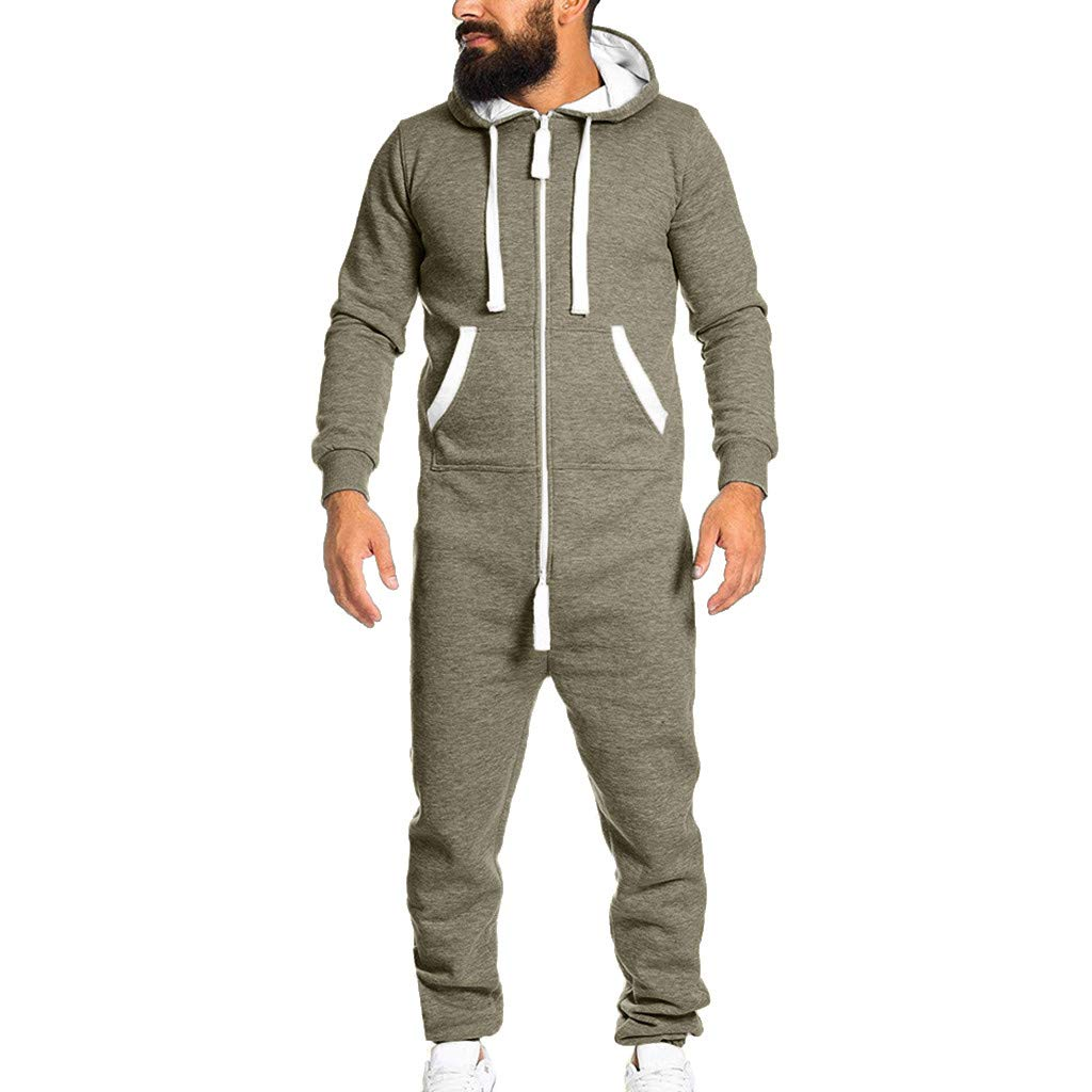 NUWFOR Men's Unisex Jumpsuit One-Piece Garment Non Footed Pajama Playsuit Blouse Hoodie ?Khaki,S US/L AS Bust:37.7''