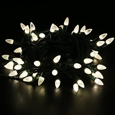 Strand GREEN Cord Christmas Indoor//Outdoor 50 Clear Bulb Lights String