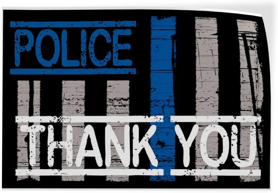 Set of 5 27inx18in Decal Sticker Multiple Sizes Police Thank You Black White Blue Lifestyle Police Officers Outdoor Store Sign Black