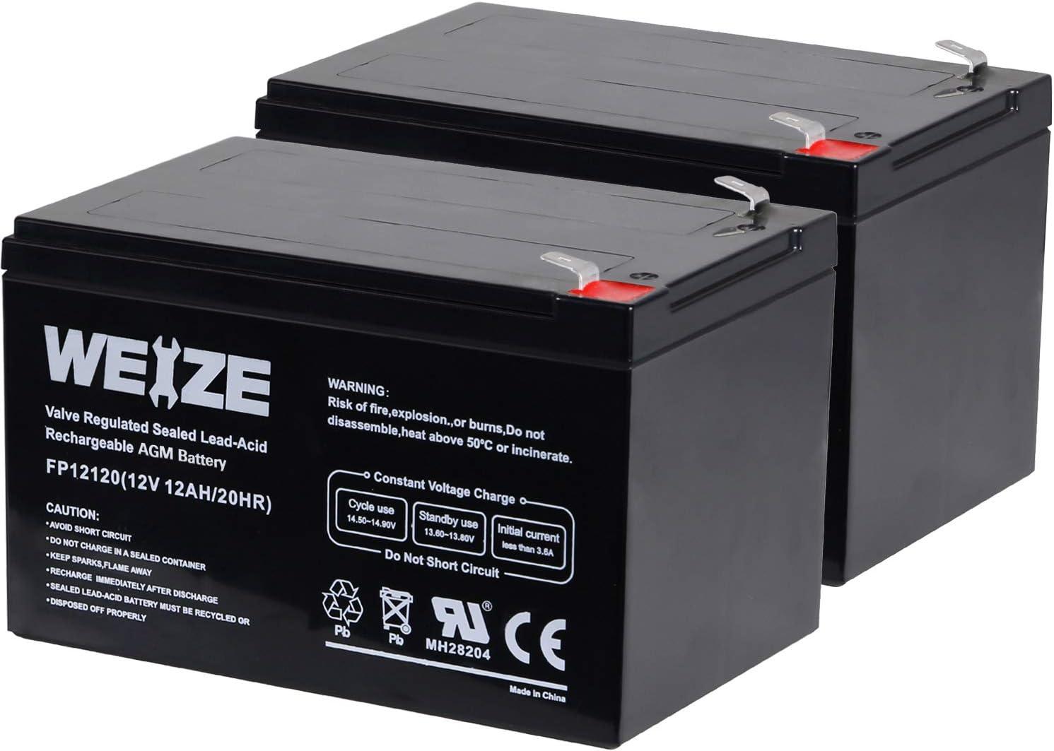 Weize 12 Volt 12AH SLA Rechargeable Battery Replace UB12120, EXP1212, 6FM12,...
