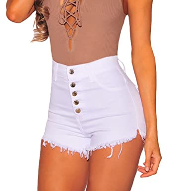 9b85c891a9e7 Pantalones Cortos para Mujeres Color Sólido Shorts de Mezclilla Moda ...