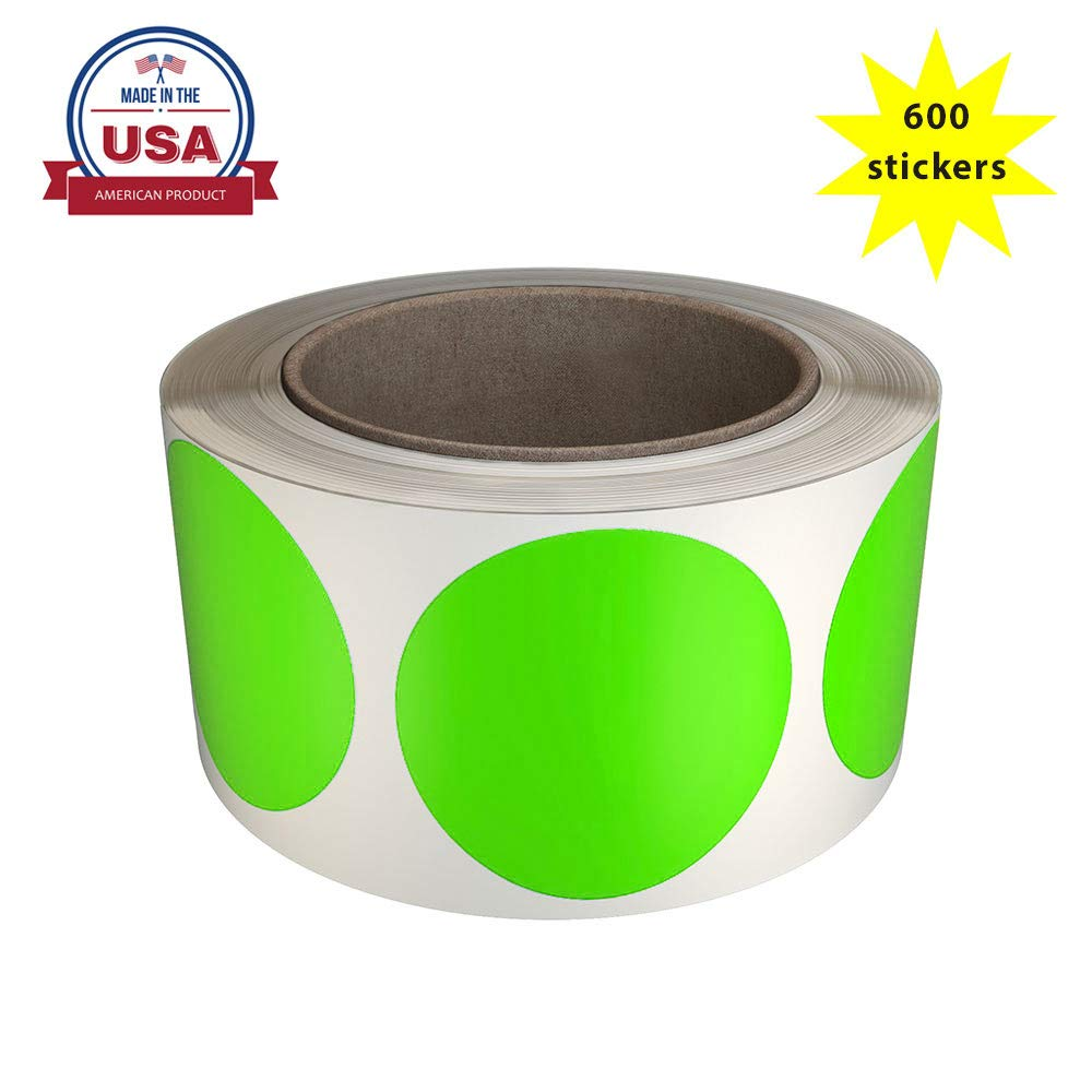 600 Pack by Royal Green Label roll in neon Pink Colored dot Stickers 2 inch