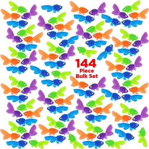(Mr. E=mc2 144 Bulk Plastic Fish Toy Collection | Vinyl Goldfish for Boys and Girls | Party Favors, School Projects, Carnival Prizes,, Educational Counting and Sorting Toys )