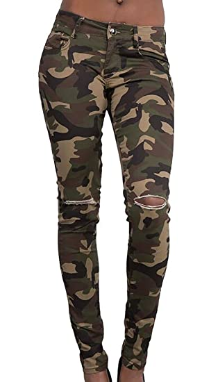 7c3af30f78fde8 KXP Women's Camo Print Ripped Hole Leggings Pencile Casual Pants XXS  Camouflage at Amazon Women's Clothing store: