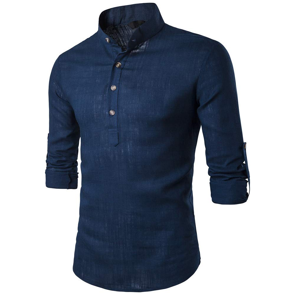 Bestow Botón de Lino de algodón para Hombre Blusa de Invierno Abrigo Chaleco Suéter Camisetas: Amazon.es: Ropa y accesorios