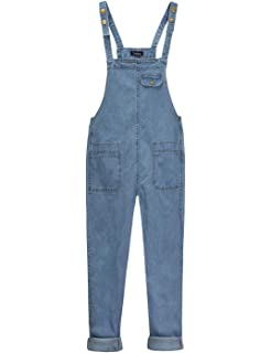 18f54107ae Yeokou Women s Casual Denim Bib Cropped Overalls Pant Jeans Jumpsuits