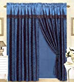 Black/Blue Flocking Leopard Satin Window Curtain Drape Set+Sheer Liner+Valance Review