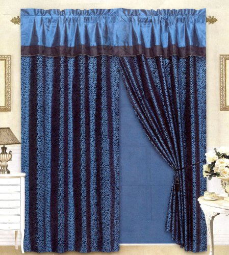 Leopard Blue Satin (Black/Blue Flocking Leopard Satin Window Curtain Drape Set+Sheer Liner+Valance)
