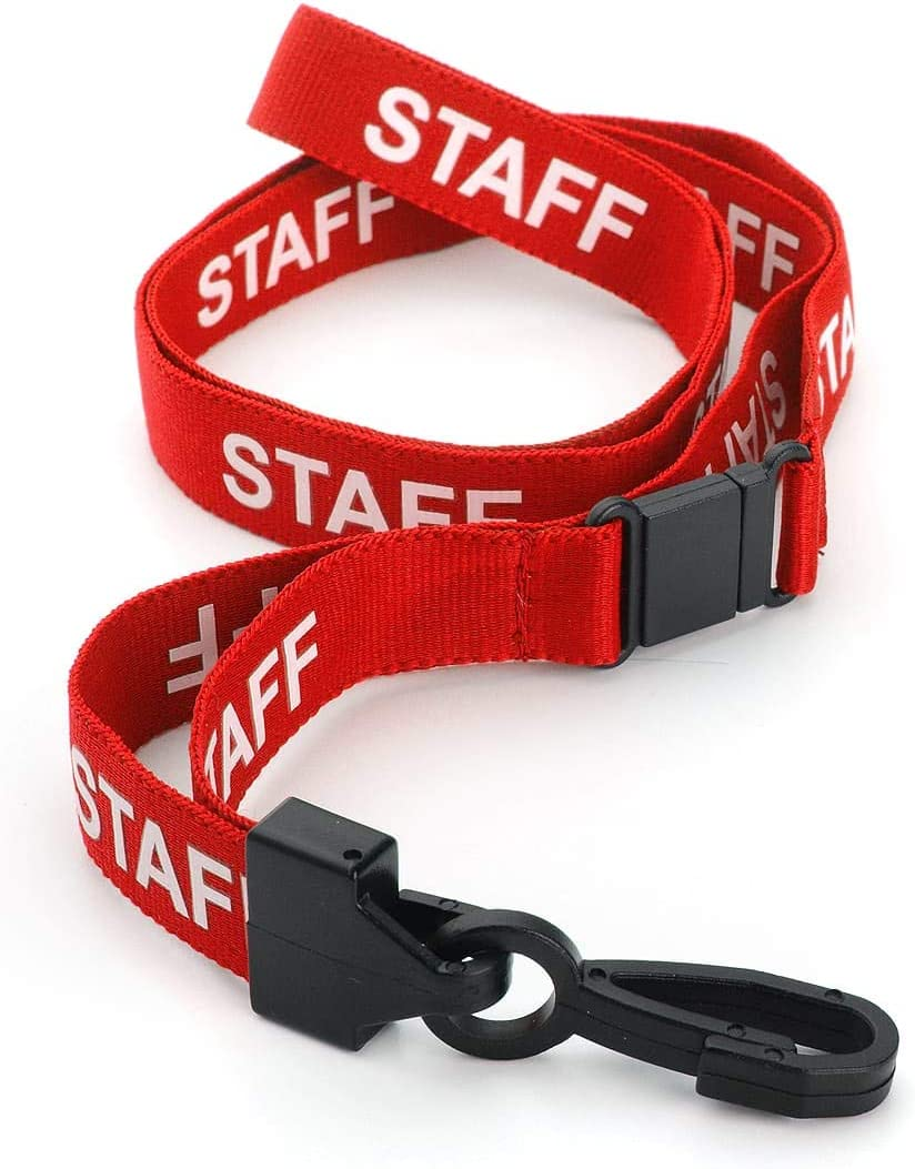 Pull Quick Release Design CKB Ltd 100X Red Staff Lanyards Breakaway Safety Lanyard Neck Strap Swivel Metal Clip for Id Card Holder Pre-Printed