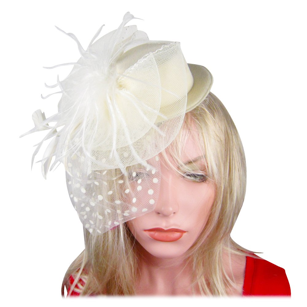 SACASUSA Women Mini Top Feather Fascinator Polka Dot Mesh Net Hair Clip Sinamay Hat Ivory